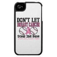 Funny Dont Let Breast Cancer Steal 2nd Base Iphone 4 Cover from Zazzle.com