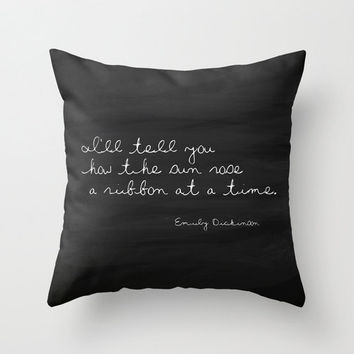 Velveteen Pillow - Emily Dickinson Quote Pillow - Typography - Black and White - Chalkboard Pillow - Cottage Chic - Beach Cottage Decor