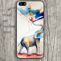 Watercolor elephant Water spray colorful iphone 6 case 6 plus iPhone 5 5S 5C case Samsung S3, S4,S5 case, Ipod touch Silicone Rubber Case, Phone cover