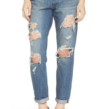 Articles of Society Janis Destroyed Boyfriend Jeans (Fisk) | Nordstrom
