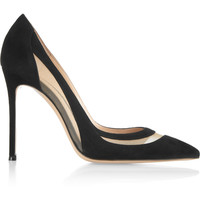Gianvito Rossi - Mesh-paneled suede pumps
