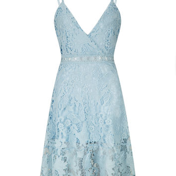 Blue Lace V Neck Ladder Cami Skater Dress