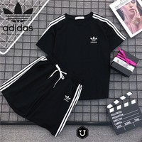 """Adidas "" Women Casual Fashion Letter Print Short Sleeve Shorts Set Two-Piece Sportswear"