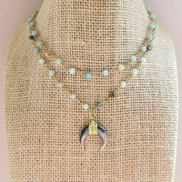 Small Crescent Horn Rosary Chain Beaded Choker Necklace Double Strand Amazonite Stones Semi Precious Gold