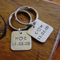 Couples Key Chain Set, Matching Set of 2 Custom Hand Stamped Key Rings, Personalized Engagement Wedding Anniversary Keepsakes, Silver Nickel