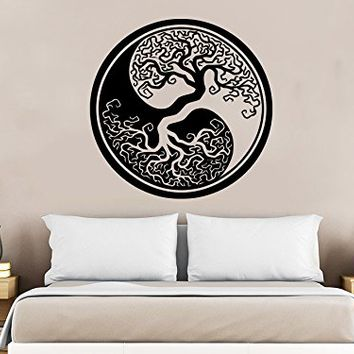 Wall Decal Tree Roots Symbol Yoga Vinyl Sticker Decals Home Decor Art Bedroom Design Interior C304