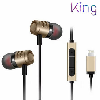 King. 2016 New earphone Digital stereo earpods noise canceling Earbud for Apple iPhone7 / 7Plus iPhone6