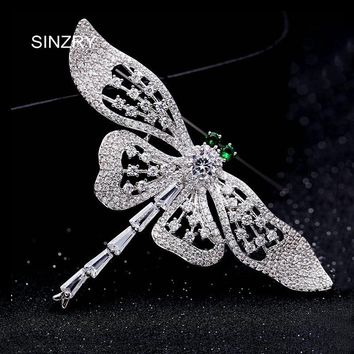 SINZRY personality jewelry AAA cubic zircon micro paved dragonfly insect brooches pin fashion jewellery gift