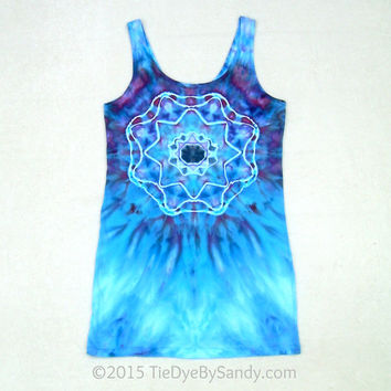 Large Women's Tie-Dye Tunic Tank Top- Sacred Geometry Mandala