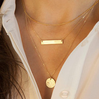 Unique 3 Layers Gold Fill Clavicle Choker Necklace Set