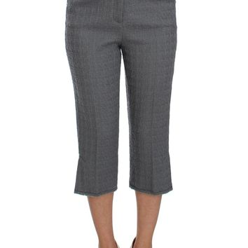 Gray Wool Stretch High Waist 3/4 Pants