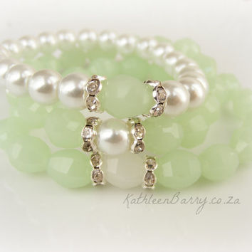R130 Pearl Stacking Bracelets - Bridesmaid gift - crystal and Rhinestone detail pistachio mint green
