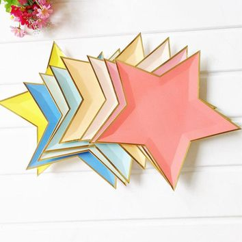 8pcs Mixed Color Gold Foil Star Paper Plates Party Decoration Disposable Tableware Star Paper Plates for Dinner Cakes FES4805