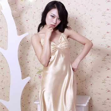 Hot Sexy V-neck Sling Nightgowns Lingerie Women Sleepwear Silk Spaghetti Straps Night Gown Satin Sleep Dress Summer Style 00