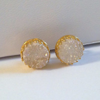 Wonderful White Druzy Cabochon Quartz Stud Gold Crown Earrings