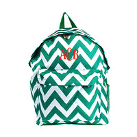 """Personalized Green and White Chevron Print 17"""" School Backpack"""