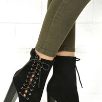 This is It Black Suede Lace-Up Mid-Calf Boots