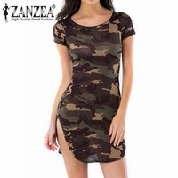 ZANZEA New 2017 Vestidos Summer Sexy Women Dress Camouflage Printed Party Short Sleeve Long Tops Shirt Mini Dresses Plus Size