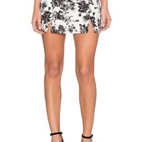 Lucca Couture Linen A Line Skirt in White Linen Floral