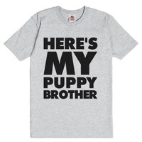 Here's My Puppy Brother-Unisex Dark Ash T-Shirt