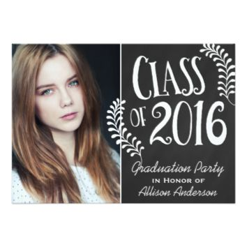 Class of 2016 Graduation Party Chalkboard Vintage 5x7 Paper Invitation Card