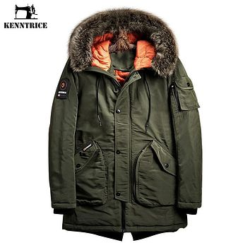 Kenntrice Winter Jackets Mens Military Jacket Men S Windbreaker Parka Men China Import Goods Cotton Fabric Long Coat Fur Hood