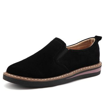 Autumn women flats sneaker shoes women slip on flat loafers suede leather shoes handmade boat shoes black oxfords