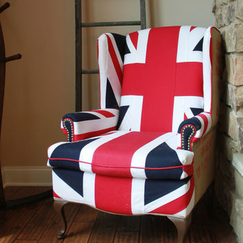 Union Jack Wing Back Chair - Heavy Cotton