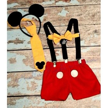 Boys Mickey Mouse First Birthday Cakesmash Set, Mickey Mouse First Birthday Outfit, Boys Cake Smash
