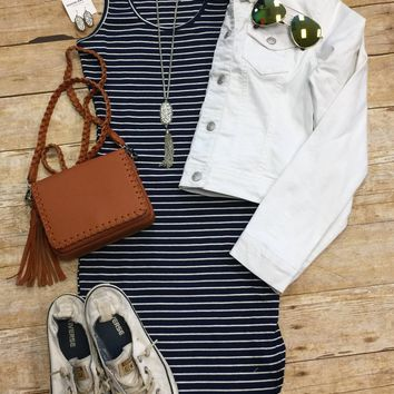 Staying In Stripes Ribbed Tank Dress: Navy