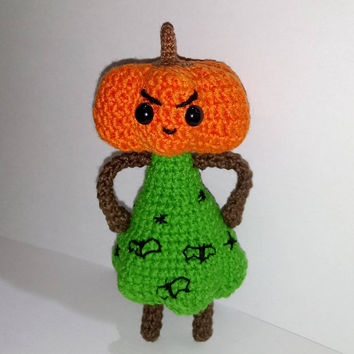 READY TO SHIP Angry Pumpkin Pumpkin girl Halloween toy Halloween monster decor