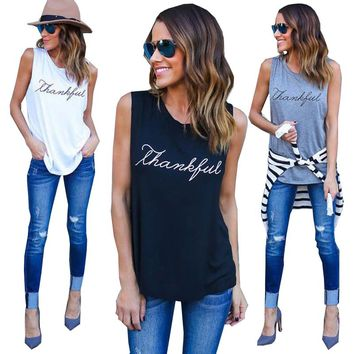 2017 Sexy Casual Letter Printed T-Shirts Tops European and American Sleeveless Vest T Shirt Tee Plus Size Women Tops Tanks GV568