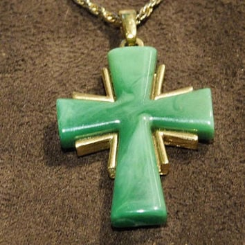 Vintage Crown Trifari Cross Necklace Pendant Green Thermoset Plastic 1970s 70s Designer Signed Trifari Jewelry Swirled Marbled Plastic