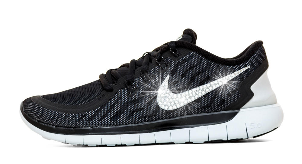 Nike Free 5.0 Running Shoes Hand Customized By Glitter Kicks - Black Grey eb03557be3