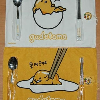 Sanrio Gudetama Family Mart Limited Tableware Place Mat Ceramic Spoon Chopstick