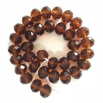 8mm Round Faceted Translucent Crystal Beads (35Pcs)