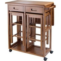 Wood Space Saver Table with 2 Stools, Teak - Walmart.com