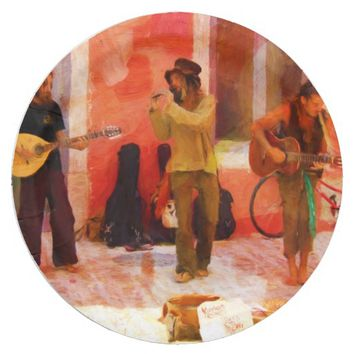 Street Musicians Playing Guitar Mandolin and Flute Paper Plate