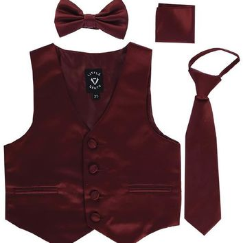 Burgundy Satin Boys 4-pc Vest Set w. Ties & Pocket Square 3M-14