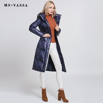 Women Down jacket Ladies New Autumn Winter White duck down long coats stand up collar hood with fake fur