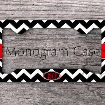 Cute License Plate Frame - Black chevron with Red monogram label, personalized car tag, front license plate vframe