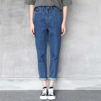 Women Jeans With High Waist Jeans Women Trousers Washed Loose Harem Pants