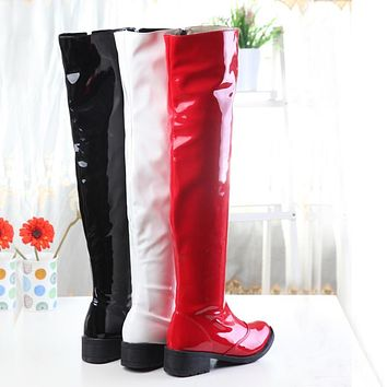 Women PU Leather Thigh High Red/Black/White Boots