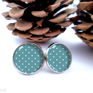 Blue dots stud earrings, glass cabochon cute jewelry by The Neverland