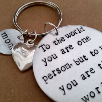 Mom - Mothers Day -  Hand Stamped Key Chain