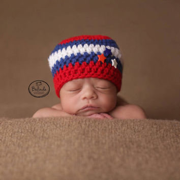 4th Of July - Hat - Beanie - Baby Beanie - Photo Prop - Newborn Hat - Stars and Stripes - Photo Prop - Crochet Photo Prop  - Hat - Baby
