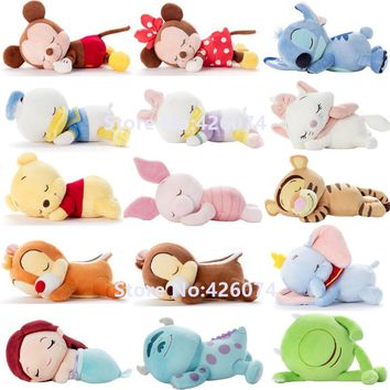 New Mickey Minnie Donald Duck Daisy Stitch Marie Dumbo Chip and Dale Piglet Sulley Mermaid Plush Kids Stuffed Animals Toys