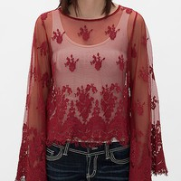 Women's Embroidered Mesh Shirt in Red by Daytrip.