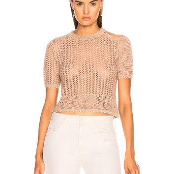 JONATHAN SIMKHAI for FWRD Pearl Knit Crop Top in Bronze | FWRD