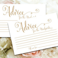 Advice for the Newlyweds cards - 4 x 6 - DIY Printable cards in 'Bella' antique gold script - PDF and JPG files - Instant Download